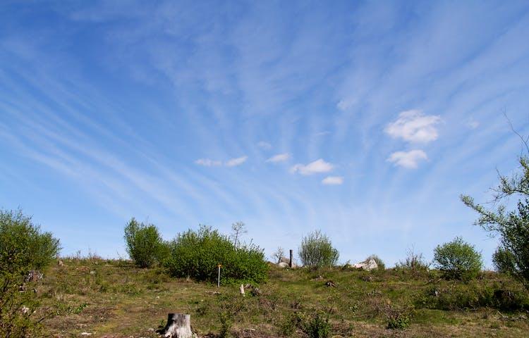 Molnslöjor på en blå himmel.