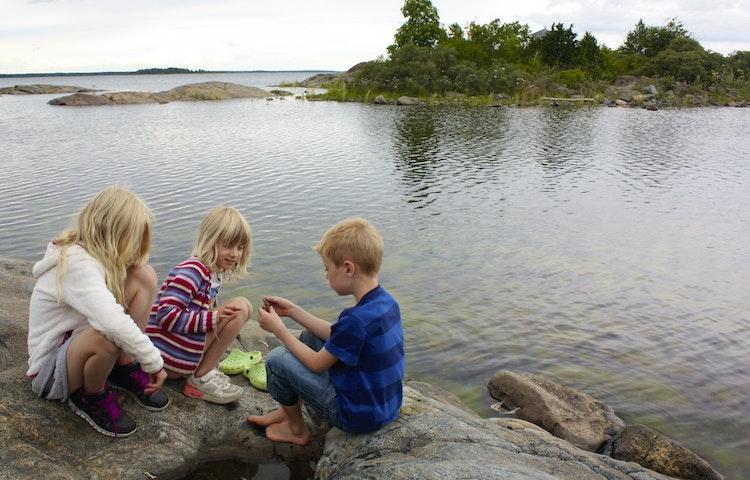 Tre barn sitter på en klipphäll och undersöker något som en av barnen håller i handen. I bakgrunden syns havet och en vik med buskar på.