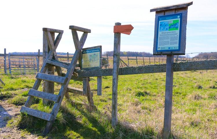 Stätta, en enklare trapp som går över ett staket. Orangepilar som visar vägen. Informationsskyltar och hagar.