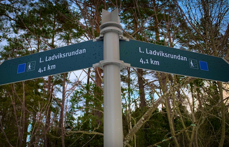Skylt som märker ut vandringsleden Lilla Ladviksrundan.