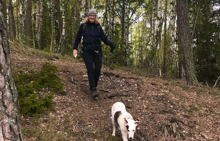 Kopplade hundar är välkomna i reservatet. Foto: Lena Malmström