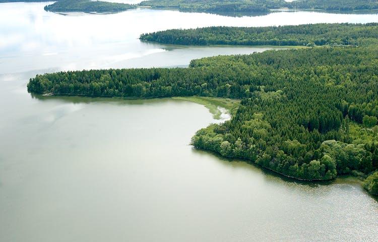 Ett flygfoto över området. Skogsklädda uddar går ut i Mälarens vatten.
